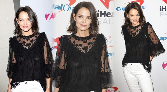Katie Holmes – Braless See-Through at Z100's Jingle Ball 2018 in New York