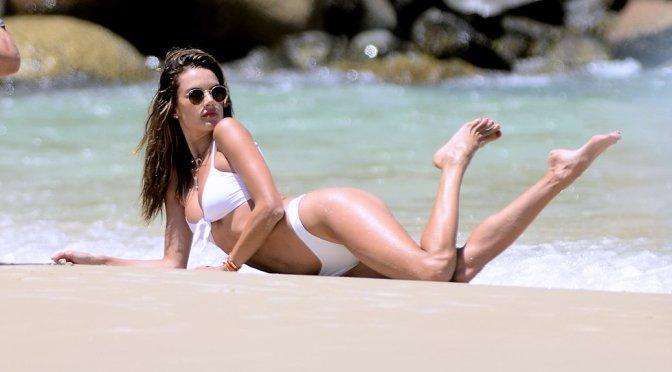 Alessandra Ambrosio – White Bikini Candids in Florianopolis
