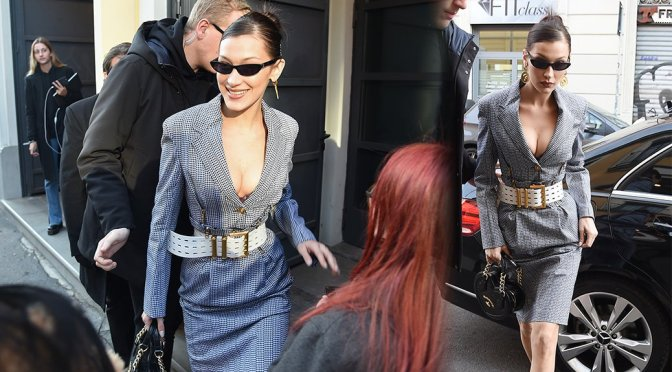 Bella Hadid – Cleavage Candids in Milan