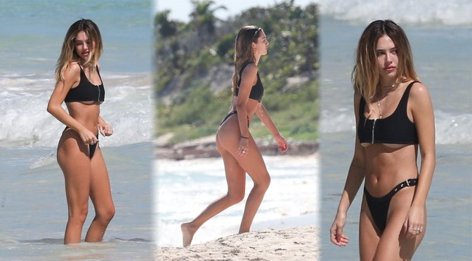 Delilah Belle Hamlin in a Bikini on the Beach in Tulum