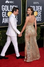 Irina Shayk Looking Hot From Behind in See-Through Gold Dress