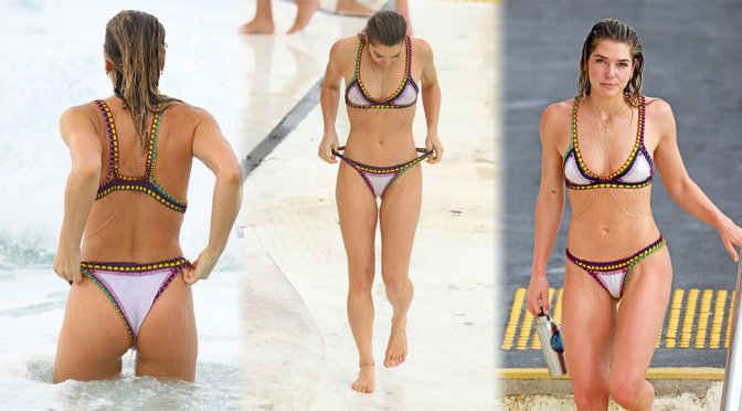 Ashley Hart – Bikini Candids at Bondi Icebergs Club in Sydney