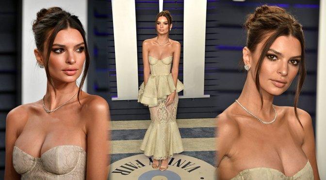 Emily Ratajkowski Sexy Dress With Revealing Cleavage