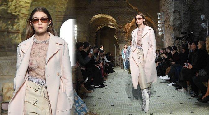 Gigi Hadid – Braless Breasts at Lanvin Fashion Show in Paris