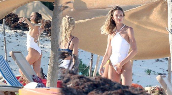 Candice Swanepoel – Swimsuit Photoshoot Candids at Beach in Tulum