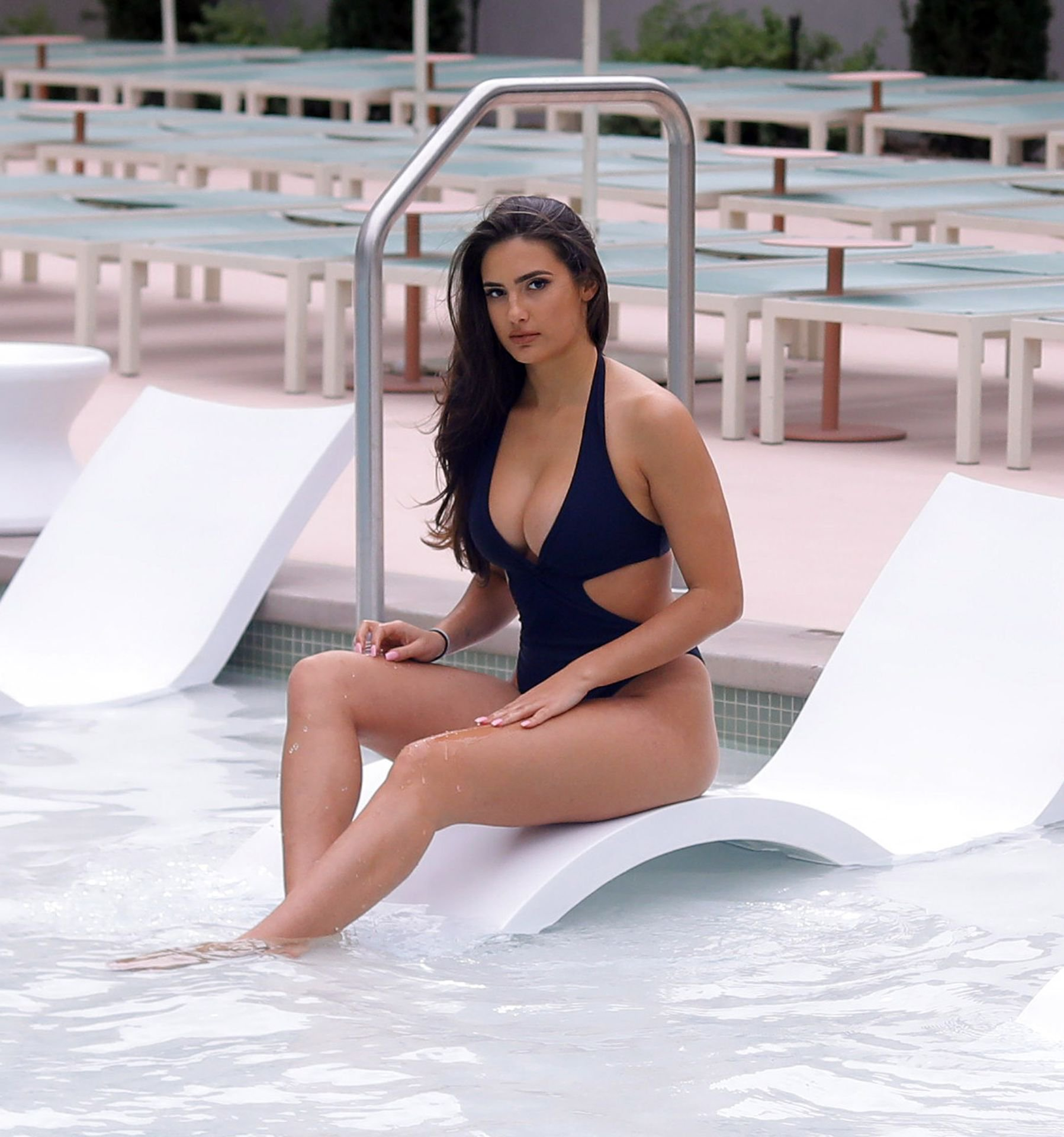 Tao Wickrath – Black Swimsuit Candids at the pool in Las Vegas
