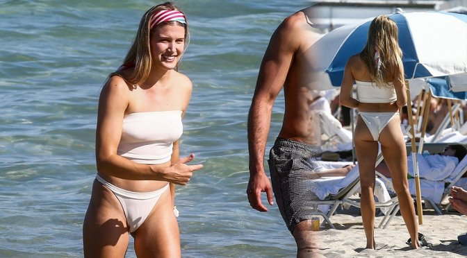 Eugenie Bouchard – White Bikini Candids on the beach in Miami