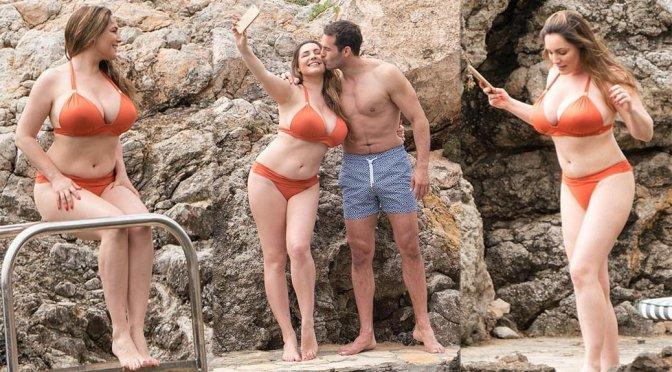 Kelly Brook Show Off Her Huge Breasts In A Orange Bikini