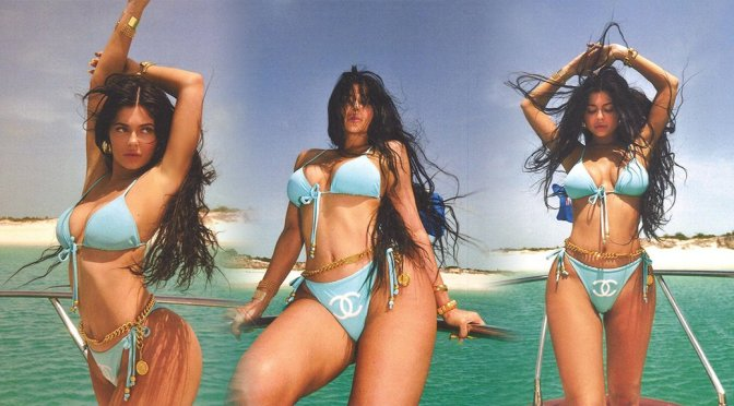 Kylie Jenner – Sexy  Blue Bikini Photoshoot