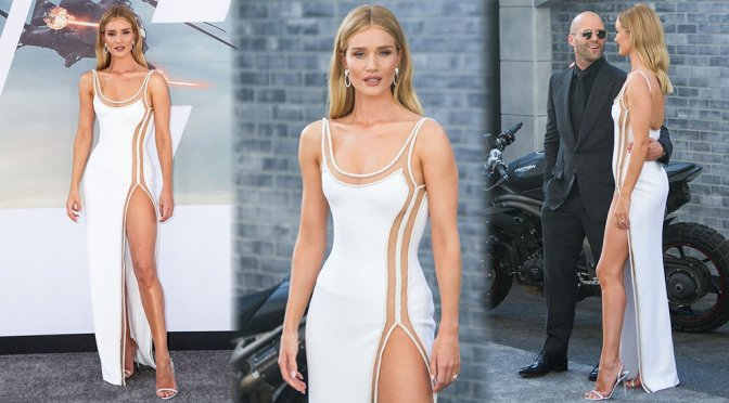 Rosie Huntington Whiteley Braless In A Sexy Dress