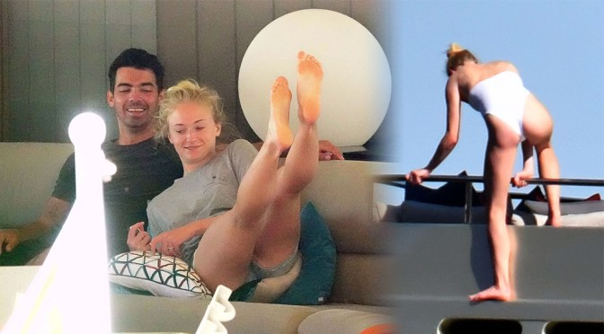 Sophie Turner – Sexy Swimsuit Candids on Yacht in Italy