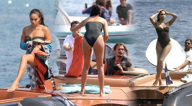 Shanina Shaik – Sexy Black Swimsuit Candids in Mykonos