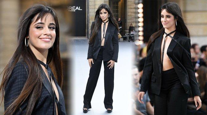 Camila Cabello – Braless Catwalk at Le Defile L'Oreal Paris Fashion Show  in Paris