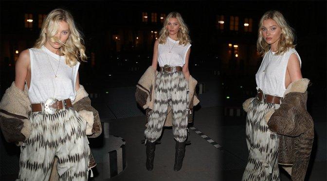 "Elsa Hosk – Braless at ""Isabel Marant"" Fashion Show in Paris"