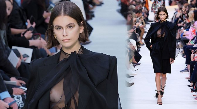Kaia Gerber – Braless Boobs at the Valentino Womenswear Spring-Summer 2020 Fashion show in