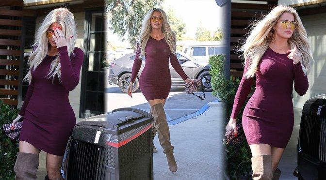 Khloe Kardashian – Sexy Tight Dress at Plata Taqueria & Cantina in Agoura Hills
