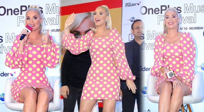 Katy Perry – Sexy upskirt at  OnePlus Music Festival Press Conference in Mumbai