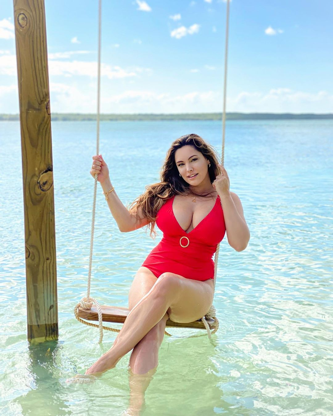 Kelly Brook Red Swimsuit