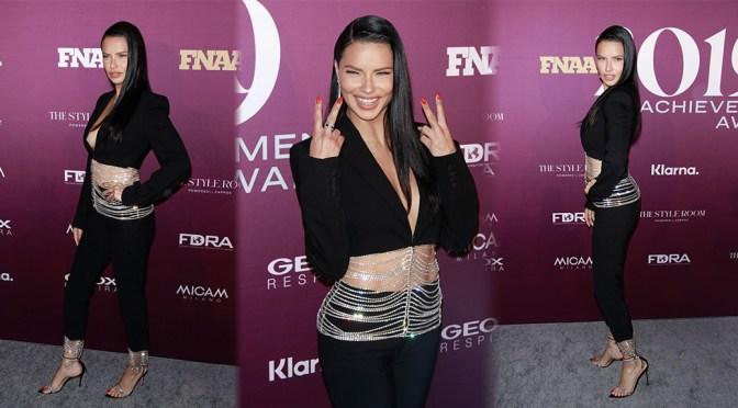 Adriana Lima – Braless Sexy Boobs at Footwear News Achievement Awards in New York