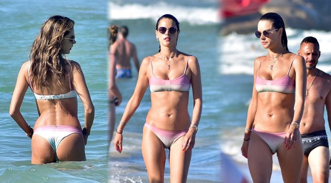 Alessandra Ambrosio – Sexy Boobs in Bikini on the beach in Florianopolis