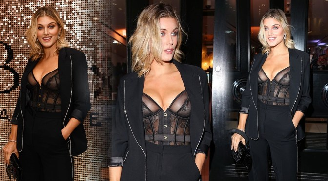 Ashley James – Sexy Boobs in See-Through Bra at Boux Avenue x Megan McKenna Launch Event in London