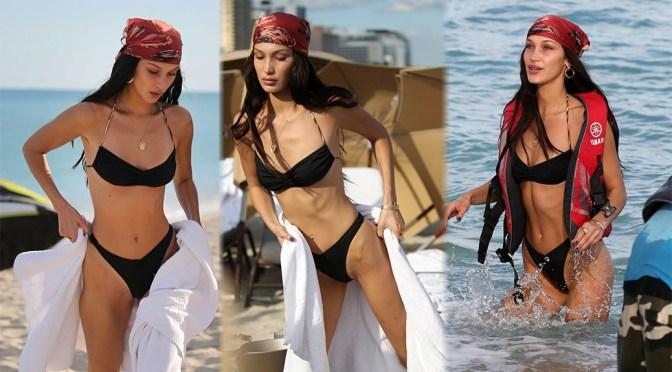 Bella Hadid – Sexy Body in Thong Bikini in Miami