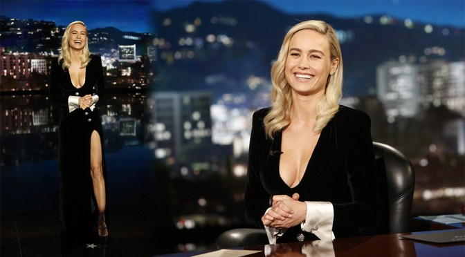 """Brie Larson – Big Braless Boobs At """"Jimmy Kimmel Live"""" in Los Angeles"""