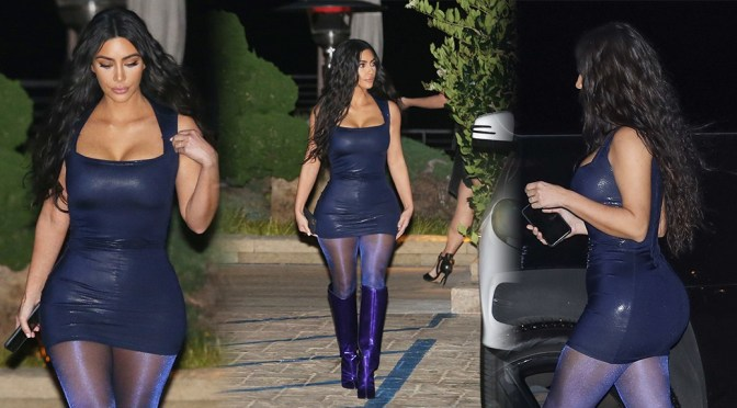 Kim Kardashian – Sexy Curvy Body in Tight Dress at Nobu in Malibu