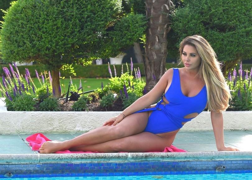 Bianca Gascoigne Blue Sexy Swimsuit