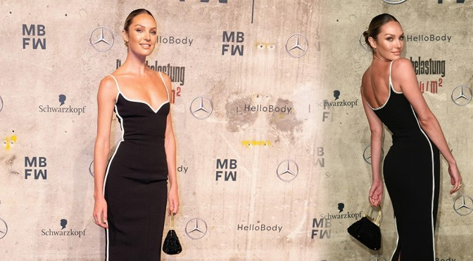 Candice Swanepoel Sexy Braless Dress