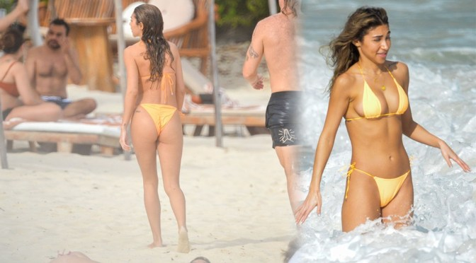 Chantel Jeffries – Sexy Camel toe in Yellow Bikini in Tulum