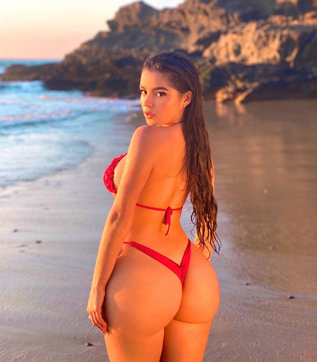 Demi Rose Mawby Hot Ass In Red Thong Bikini