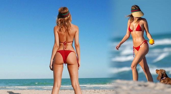 Kimberley Garner – Sexy Boobs in Tiny Red Bikini on the Beach in Miami