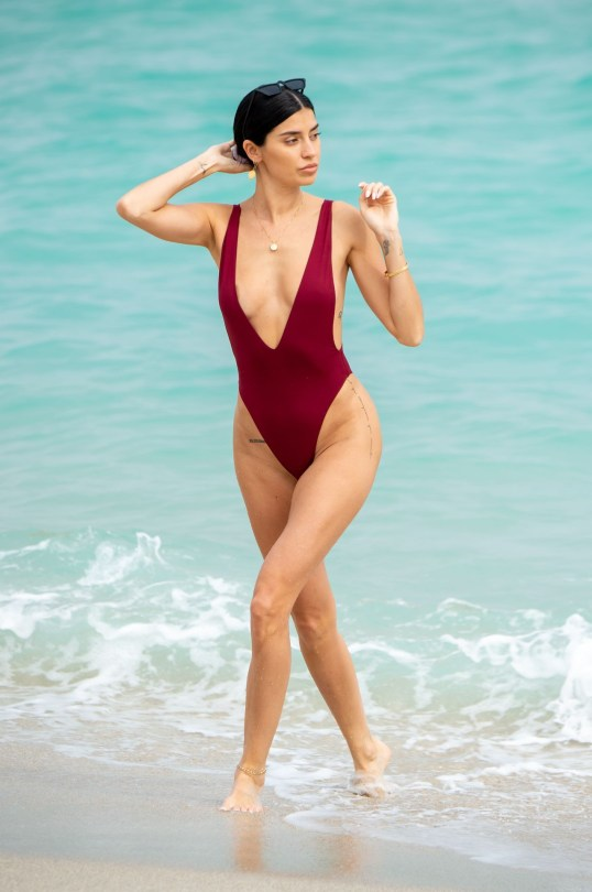Nicoel Williams Sexy Low Cut Swimsuit