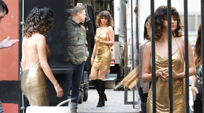 "Selena Gomez – Sexy Body in Golden Dress on a ""Rare"" Music Video Set in Los Angeles"