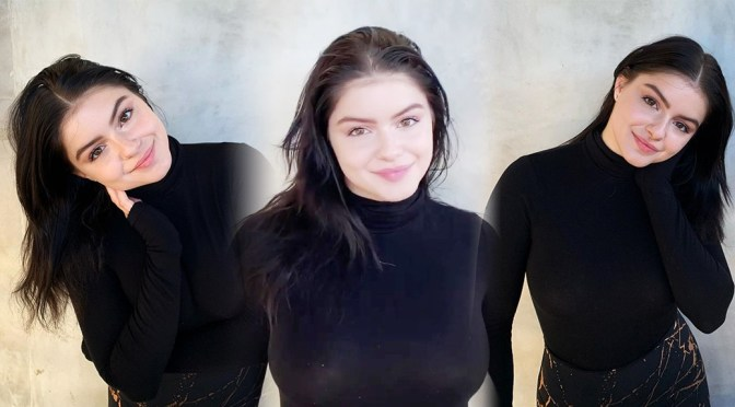 Ariel Winter – Braless Boobs in Sheer Black Top Instagram Video