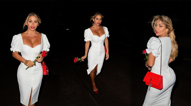Bianca Gascoigne – Sexy Body in White Dress at Sheesh in Chigwell