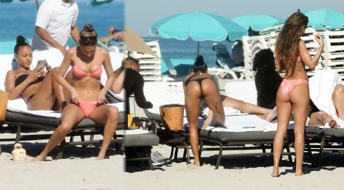 Karrueche Tran & Chantel Jeffries – Sexy Boobs and Asses in Thong Bikini on the Beach in Miami