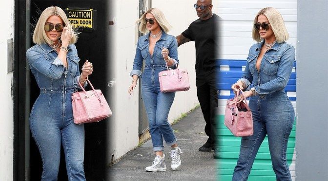Khloe Kardashian – Curvy Body in Denim Jumpsuit Out in Woodland Hills