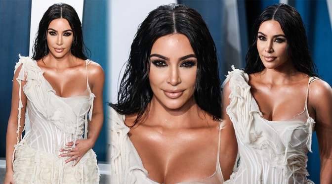 Kim Kardashian – Sexy BIg Boobs at 2020 Vanity Fair Oscar Party in Beverly Hills