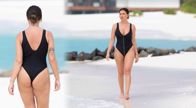 Megan Barton-Hanson- Hot Ass and Boobs in Black Swimsuit at the Beach in Maldives