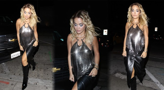 Rita Ora – Hot Legs and Braless Boobs at Craig's in West Hollywood
