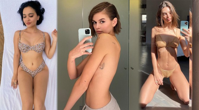Kaia Gerber Sexy Topless Selfie and Other Celebrities in a Weekly Instagram/Twitter Roundup