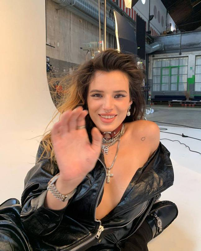 Bella Thorne Hot In Leather Jacket