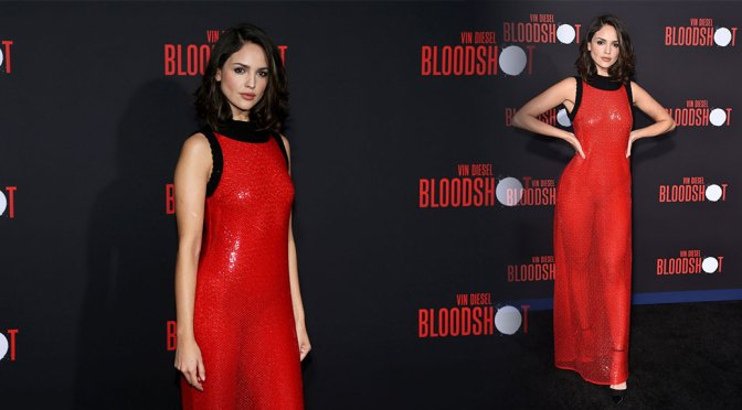 "Eiza Gonzalez – Hot Red See-Through Dress at ""Bloodshot"" Premiere in Los Angeles"