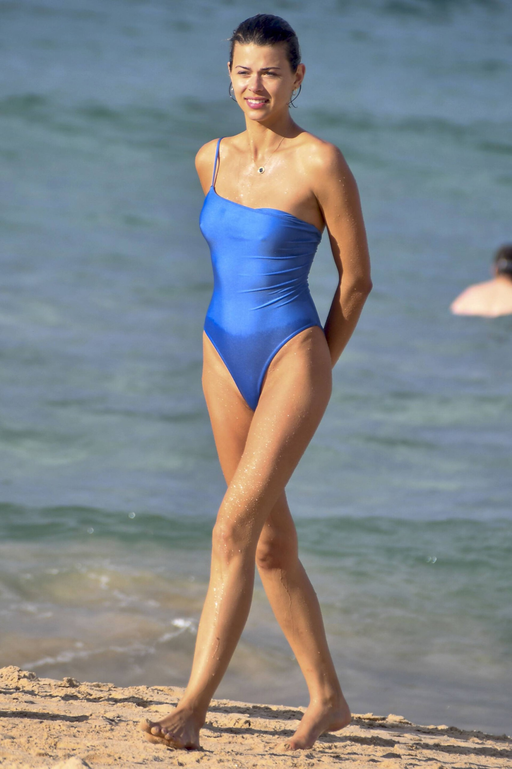 Georgia Fowler Revealing Blue Swimsuit