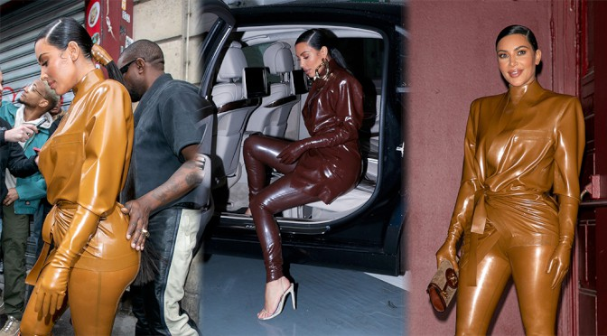 Kim Kardashian – Sexy Big Ass in Tight Latex Outfit Out in Paris