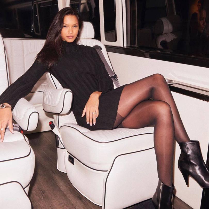 Lais Riberio Hot Black Dress And Pantyhose
