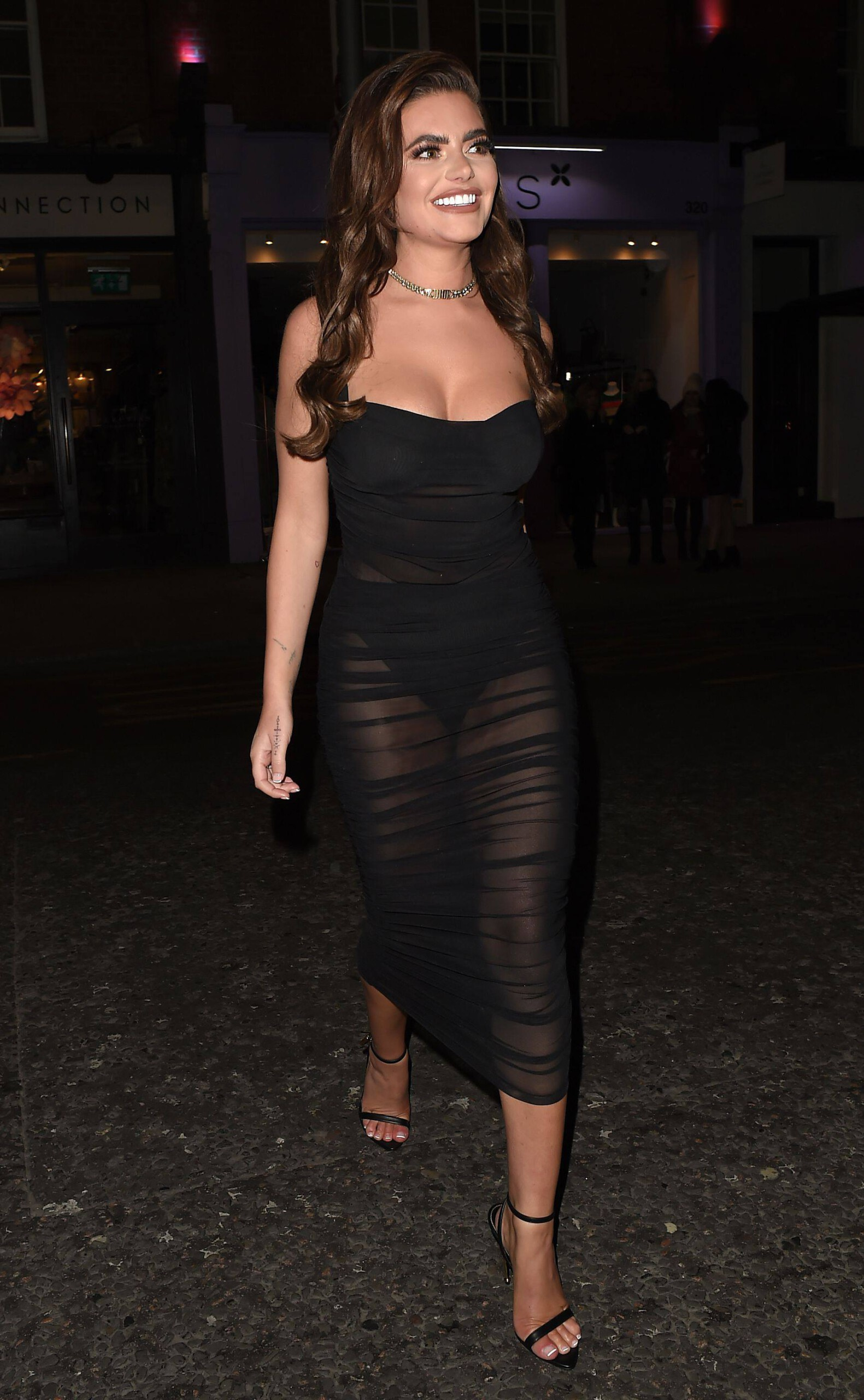 Megan Barton Hanson Sexy Sheer Black Dress