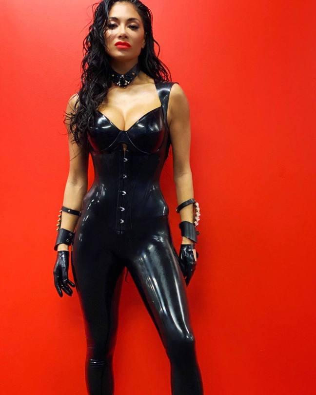 Nicole Scherzinger Sexy Black Latex Outfit